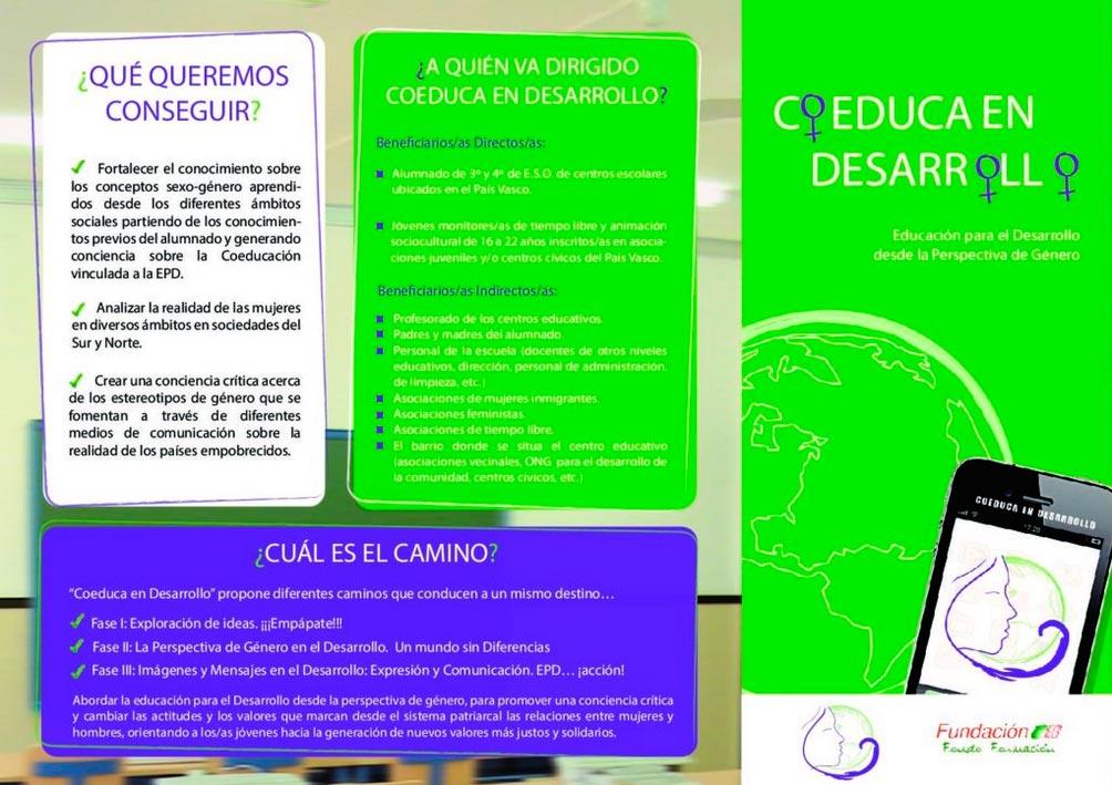 """Tríptico Proyecto """"Coeduca en Desarrollo"""": Educación para el Desarrollo desde la Perspectiva de Género"""